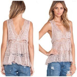 Free People Deep V Trapeze Cami Lace Taupe Tank